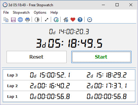 Click to view Free Stopwatch 2.3 screenshot